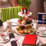 Mad Hatters afternoon tea setting at the Sanderson Hotel, London
