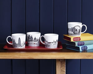 A contemporary collection of London themed mugs from Royal Doulton by designer Charlene Mullen.
