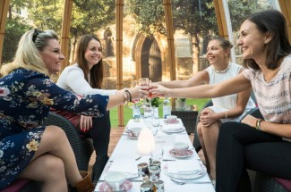 Champagne Afternoon Tea in The Domes at London Secret Garden, Kensington.