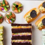 Savoury treats for afternoon tea at the Langham Hotel, London.