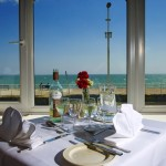 Afternoon tea with stunning sea views at the Sea Terrace Restaurant at Royal Victoria Hotel, St Leonards on Sea, East Sussex.
