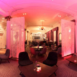 The pink and beautiful salon for afternoon tea at Blythswood Square, Glasgow