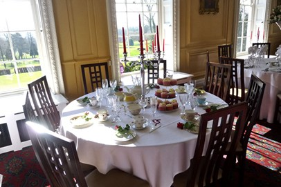 A beautiful afternoon tea table setting at Eltham Lodge, South London