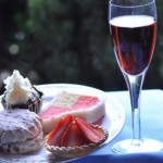 Strawberry tarts and pink champagne are a decadent treat for afternoon tea in the West Midlands in Moor Hall Hotel and Spa, Sutton Coldfield