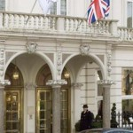 The grand and arched entrance to the Bentley Hotel, the venue for afternoon tea, Chelsea