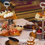 Mouthwatering cake stands ready for afternoon tea in Kensington and Chelsea at the Bentley Hotel