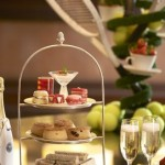 A three tiered cake stand for afternoon tea at the Park Room and Library in Grosvenor House, Mayfair.