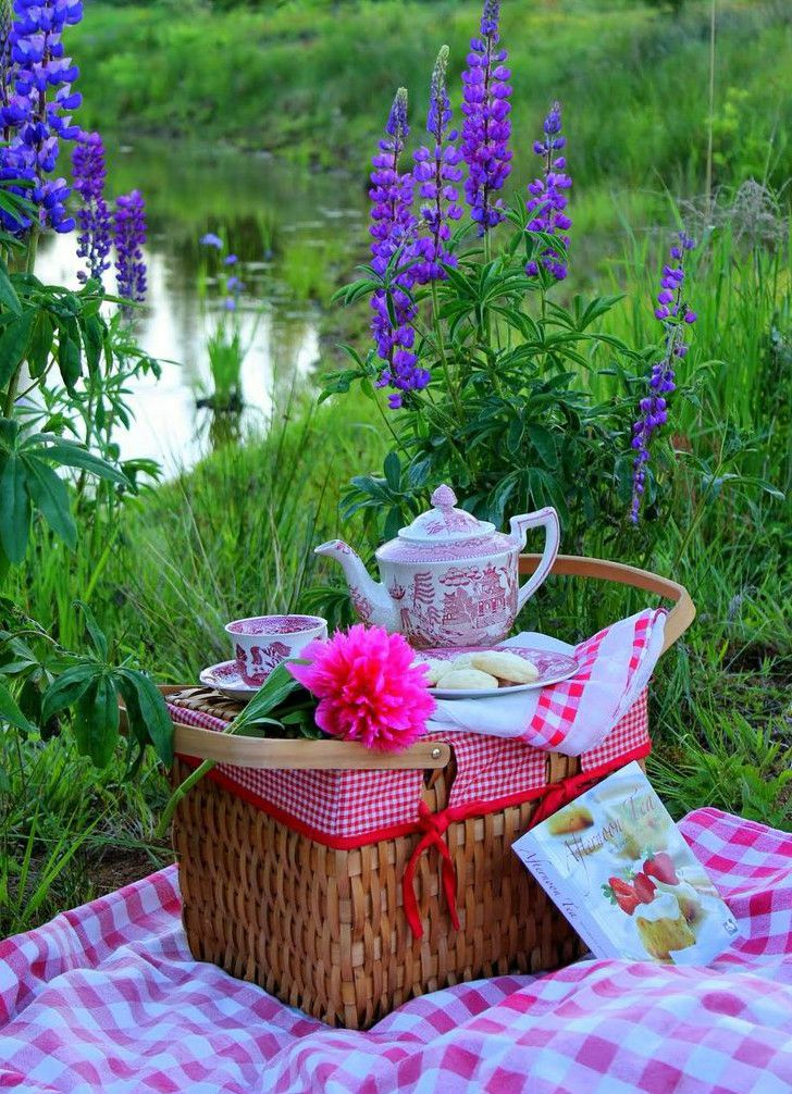 Al fresco dining by the side of a pond.