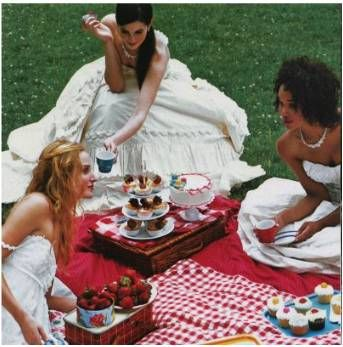 Ladies enjoying an al fresco picnic