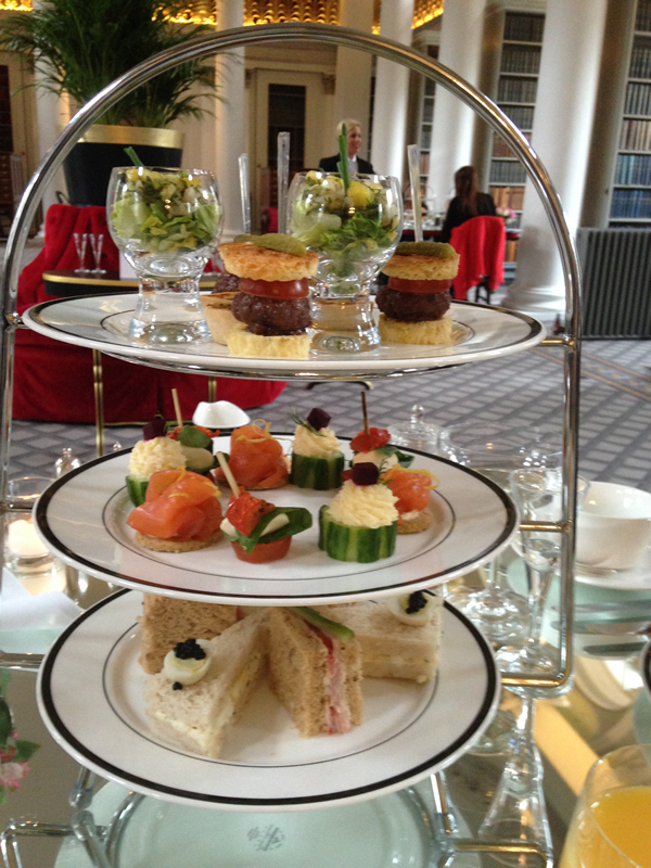 Afternoon Tea at the Signet Library, Edinburgh, savoury selection.