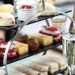 The delicious cake stand ready afternoon tea at Browns Brasserie Glasgow