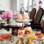 The table's all ready for afternoon tea at BB Bakery in the heart of London's Covent Garden