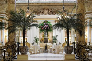 The beautiful palm court, the sumptuous venue for afternoon tea at the Ritz, London.