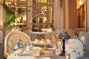 A decadent three tiered cake stand served for afternoon tea at the Ritz, London. Treat someone special to an afternoon tea at the ritz voucher.