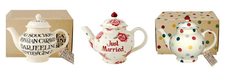 Emma Bridgewater teapot selection featuring pink and red roses, polkadots and script writing