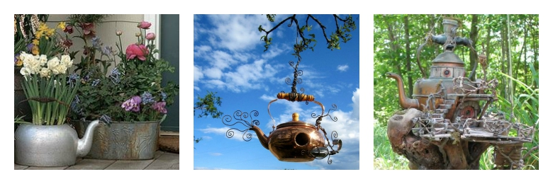 Teapot collection featuring gardening ideas