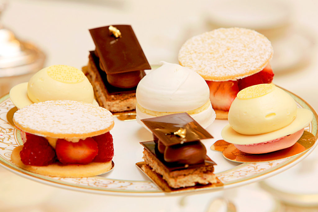 Tempting sweet treats for afternoon tea at the Ritz Hotel, London. Afternoon tea at the Ritz Voucher.