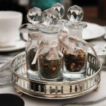 Mad Hatters mini bottles for afternoon tea at the Sanderson Hotel, London
