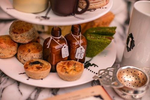 Savoury treats served for the Sanderson Hotel Afternoon Tea Party, London