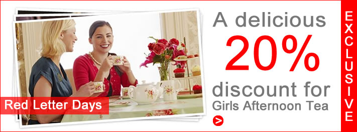 Exclusive Red Letter Days 20% Discount for Girls Afternoon Tea Visitors