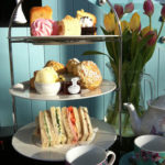 A beautiful 3 tiered cake stand all set for afternoon tea at the Bristol Hotel, South West England