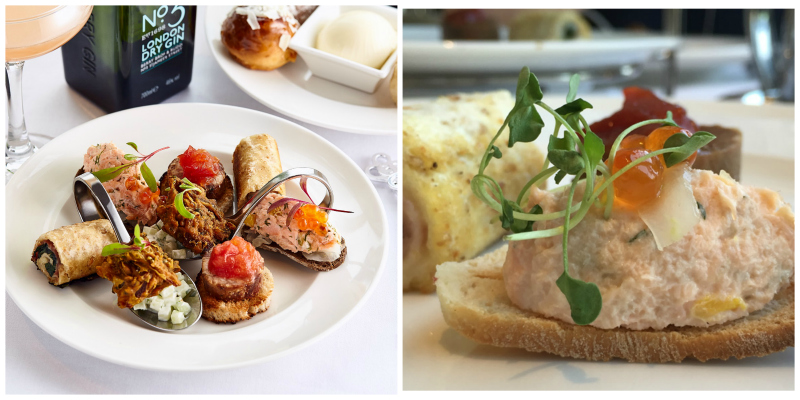 The mouthwatering savoury selection for afternoon tea in Edinburgh at the Sheraton Grand Hotel.