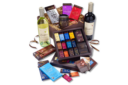 Green and Black's luxury chocolate and wine hamper.