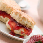 Mouthwatering scones and jam for afternoon tea at Laura Ashley, The manor, Elstree, Hertfordshire