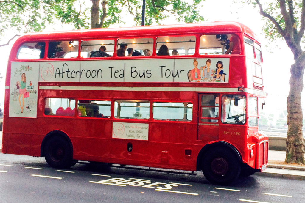 All aboard the this vintage London bus for afternoon tea. A quirky afternoon tea in London.