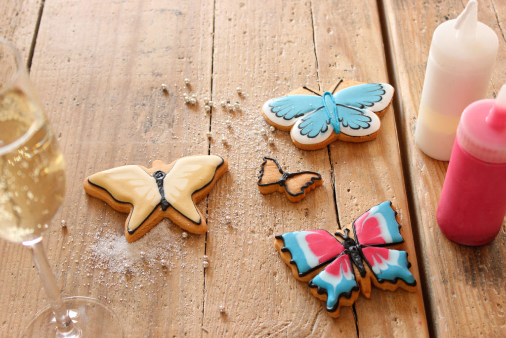 Iced butterfly biscuits available at Biscuiteers icing classes in London, Notting Hill and Battersea.