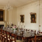 The grand dining room at Pentillie Castle, Cornwall