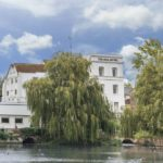 The beautiful waterside setting of the Mill Hotel, Sudbury, Suffolk.