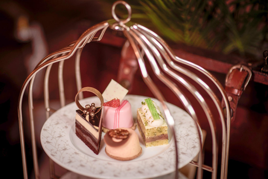 The exquisite Bird Cage afternoon tea in London at the Five Star Sheraton Grand Park Lane.