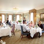 The elegant restaurant for afternoon tea at the Talbot Hotel, North Yorkshire