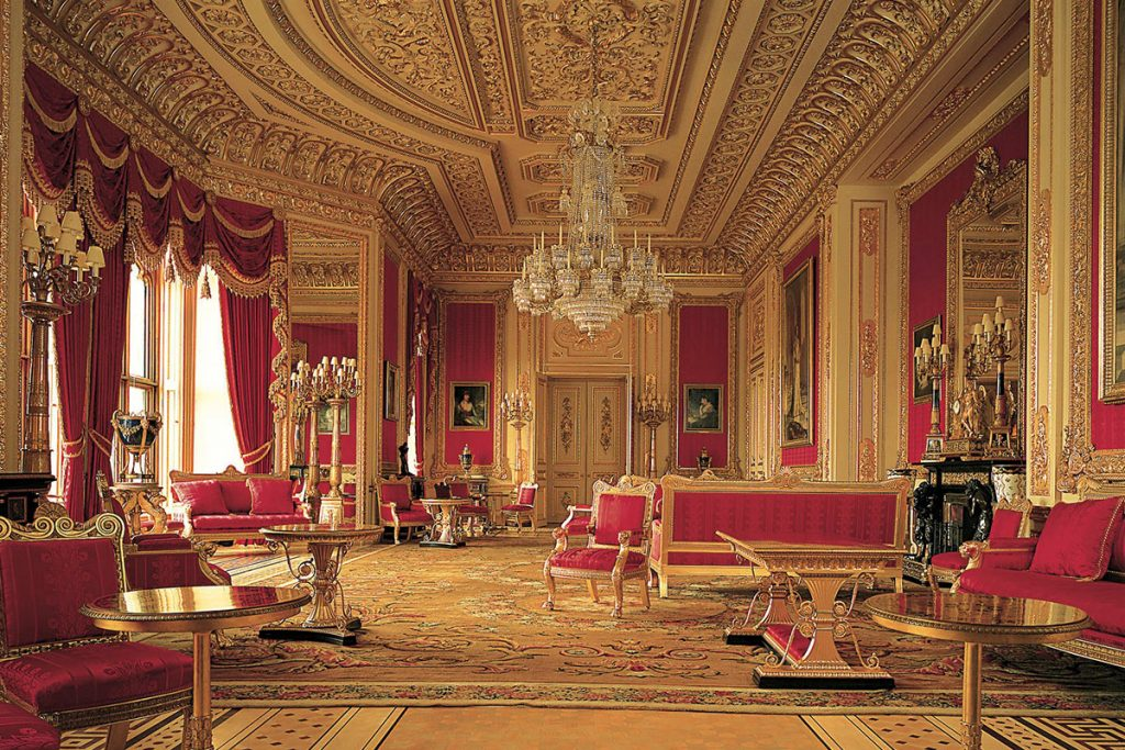 Windsor Castle State Room in gold and red