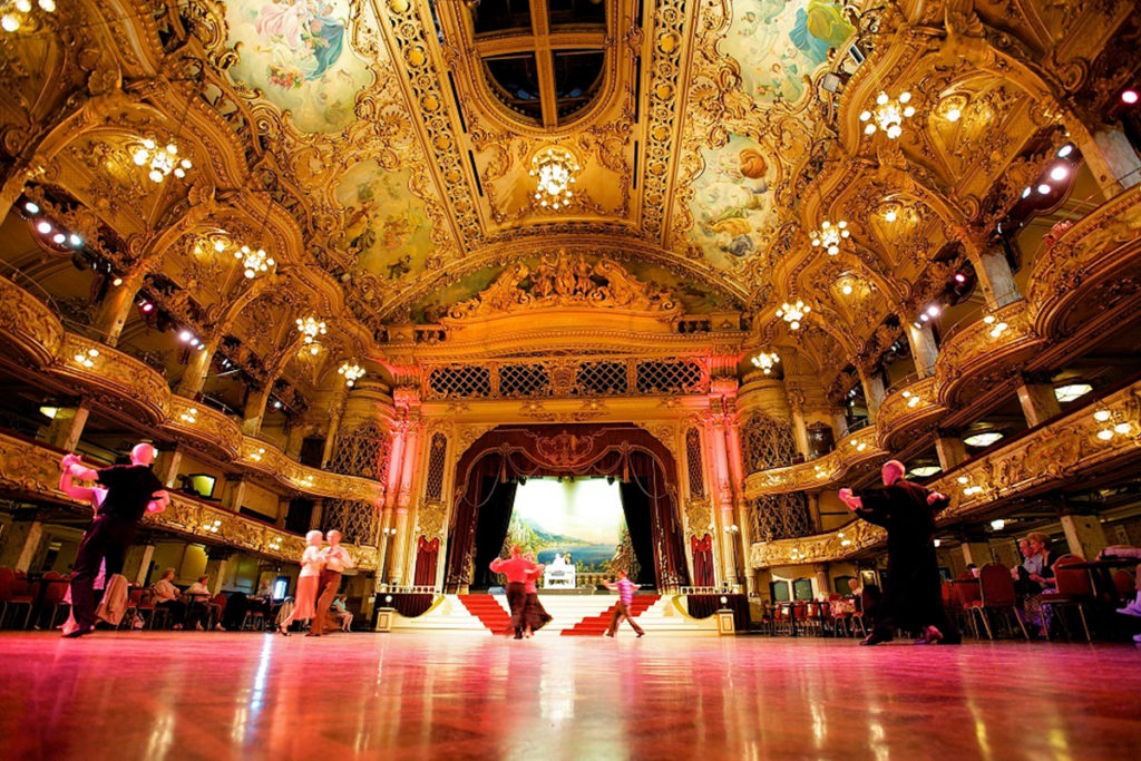 The beautiful ballroom at Blackpool Tower. Your venue for afternoon tea and dancing.