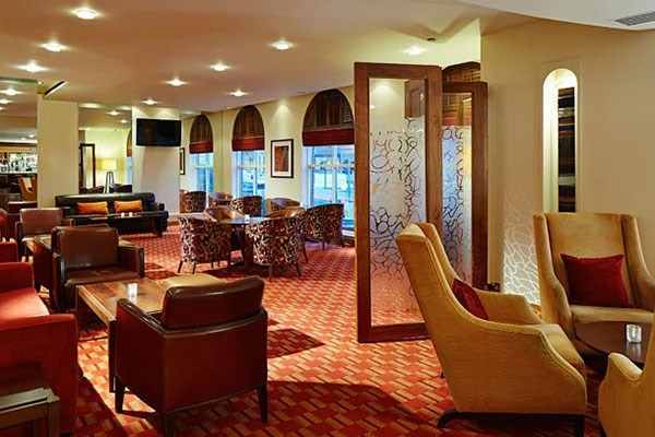 The comfortable lounge for afternoon tea at the Bexleyheath Marriott Hotel, kent.
