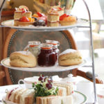 Mouthwatering cakes for afternoon tea at the Coppid Beech, Berkshire.