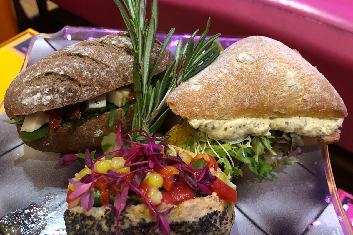 Delicious savoury treats as part of the vegan afternoon tea in London from French chef, Eric Lanlard.