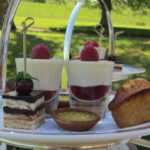 A plate of mouthwatering sweet treats for afternoon tea at Cringletie House in the Scottish Borders.