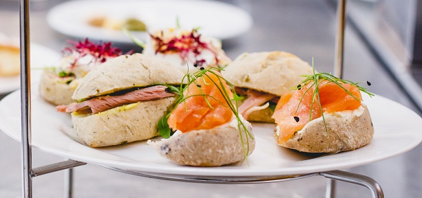 Savoury artisan rolls forming a delicious savoury selection for afternoon tea at the old rectory, west midlands