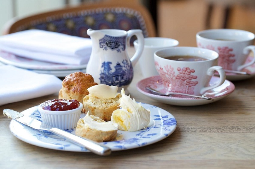 Scones with Cream and Jam for Afternoon Tea Bermondsey Square