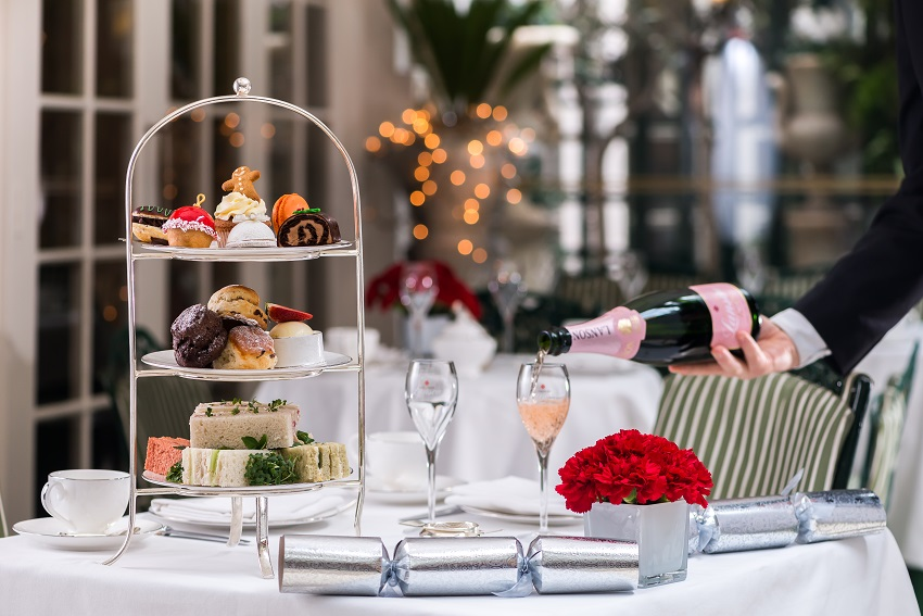 Christmas afternoon tea at the Chesterfield, London.