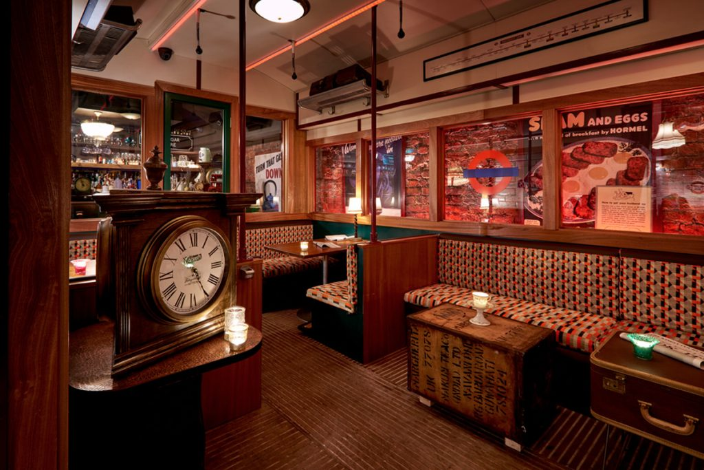 Enjoy cocktails, cuppas and cakes in a 1940s themed railway inspired carriage