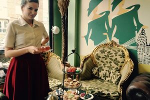 Indulge with a gin afternoon tea at Metrodeco tea salon, Brighton.