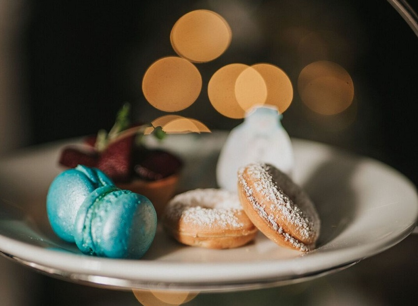 Macarons and fine pastries form part of the Snowman afternoon tea at Healing Manor, East Lincolnshire.