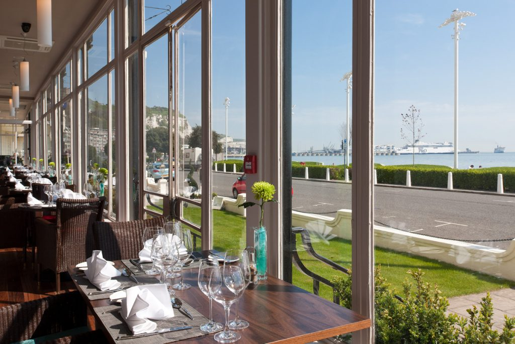 Enjoy outstanding sea views when having afternoon tea at Dover Marina Hotel & Spa, Kent.