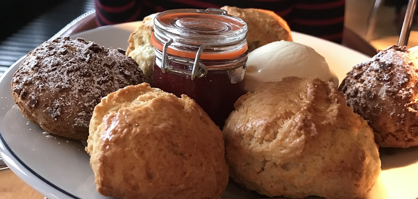 Scones for afternoon tea at the Tower Restaurant, Edinburgh
