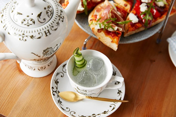 Hendricks Gin Afternoon Tea from Bella Italia. Gin cocktail served in a teapot with mini pizza breads