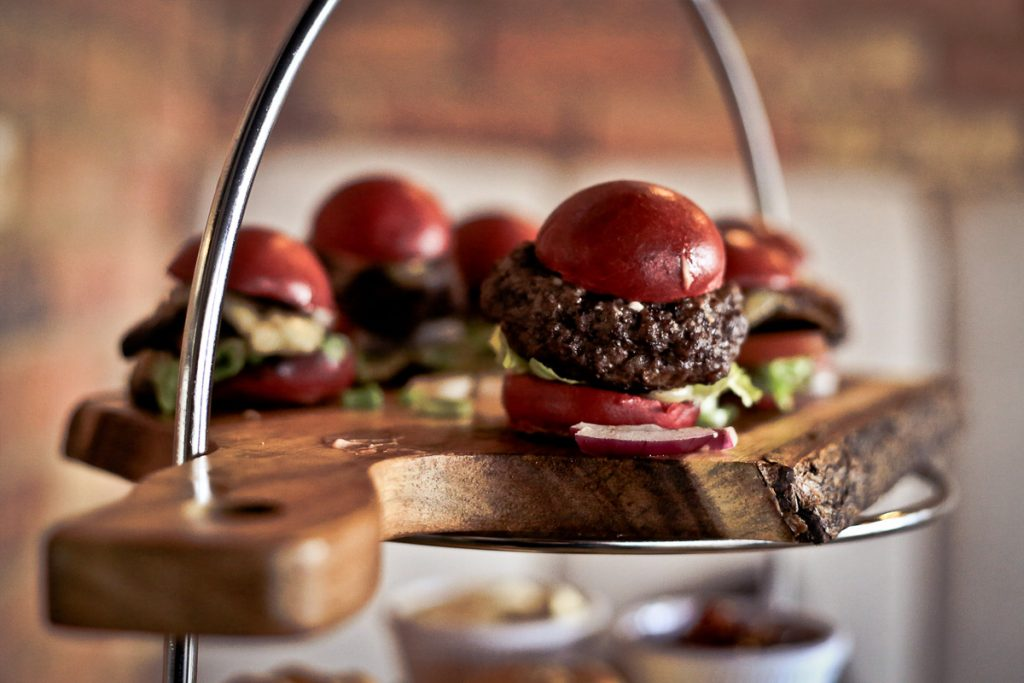 Bite size burgers for afternoon tea at Burger and Bubbles, Kent